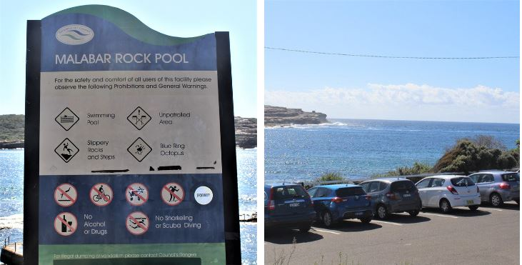 Info & car park for Malabar Rock Pool