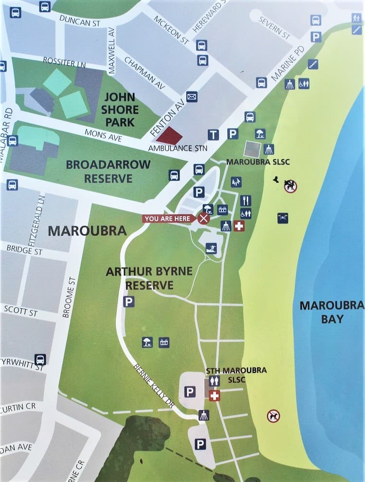Maroubra Beach map showing parking and facilities.