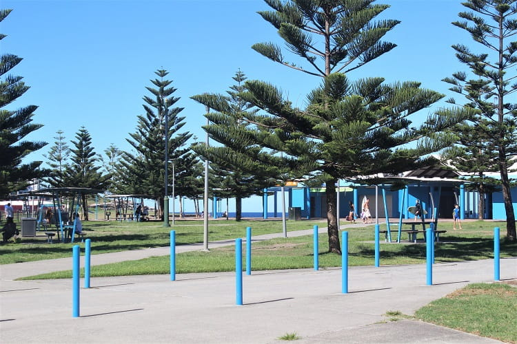 Picnic tables and facilities at MAroubra Beach, Sydney, Australia.