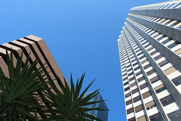 Looking up at skyscrapers in Perth CBD.