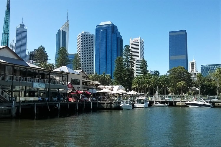 Perth skyline viewed from the Swan River.