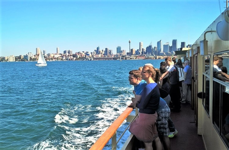 Ferry to Manly Beach on a sunny day.