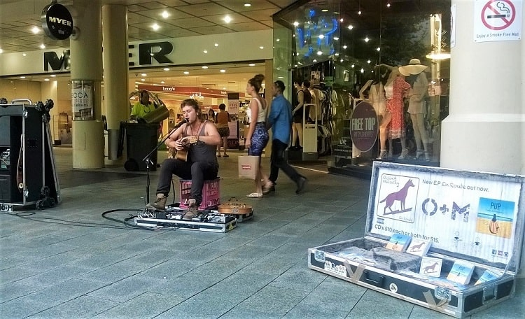 Busker in Perth outside th Myer Centre