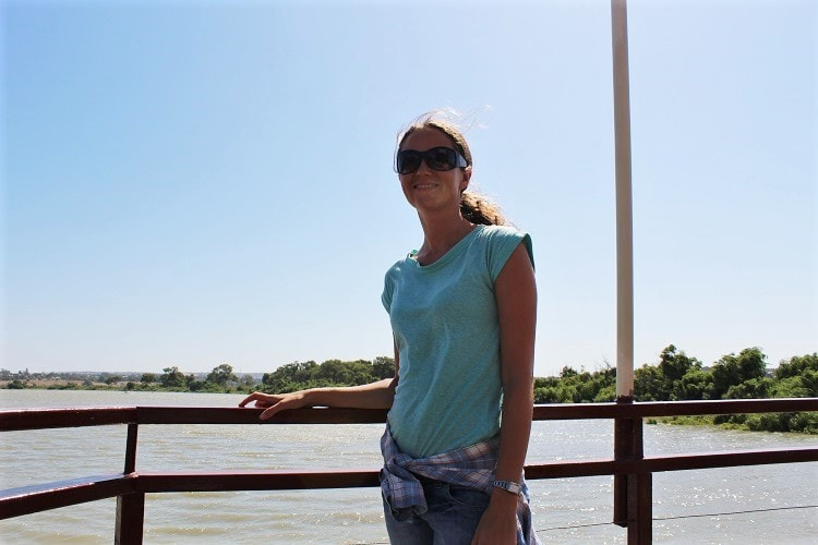Tourist on a Captain Proud Murray River paddle boat cruise in South Australia.
