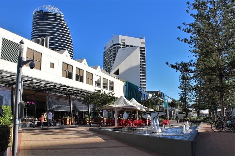 Restaurants and Oasis shopping centre at Broadbeach Gold Coast.