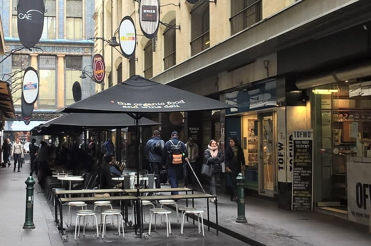 Melbourne weather in winter: locals wrapped up warm getting coffee.