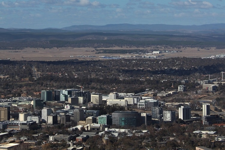 Birdseye view of Canberra, Australia's capital city.