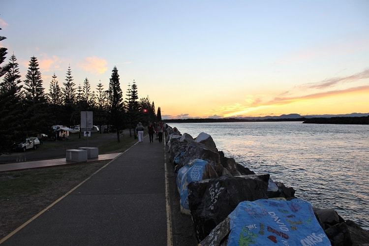 Sunset at Port Macquarie breakwall and Town Green Park.