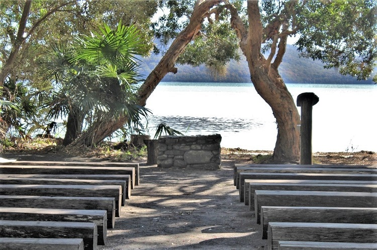 Outdoor chapel at The Green Cathedral, Booti Booti National Park Australia.