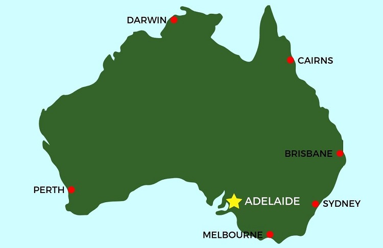 Where is Adelaide in Australia map.