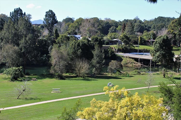 Looking down on Bellinger River and Lavendar Bridge Park.