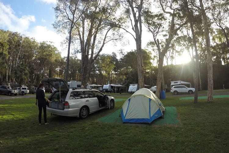 Camping at Sapphire Beach Holiday Park, Coffs Harbour.