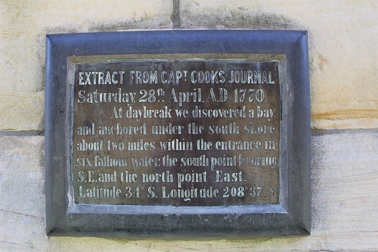 Captain Cook landing: extract from his diary on the Kurnell monument.