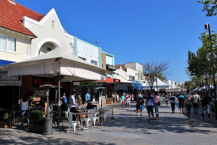 Shops and cafes in beachy Sydney suburb Cronulla.