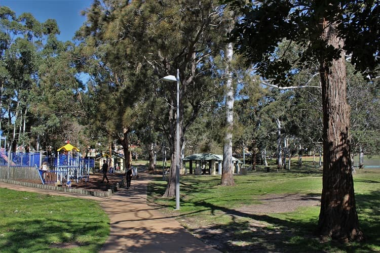 Gunnamatta Park playground and picnic tables in Cronulla.