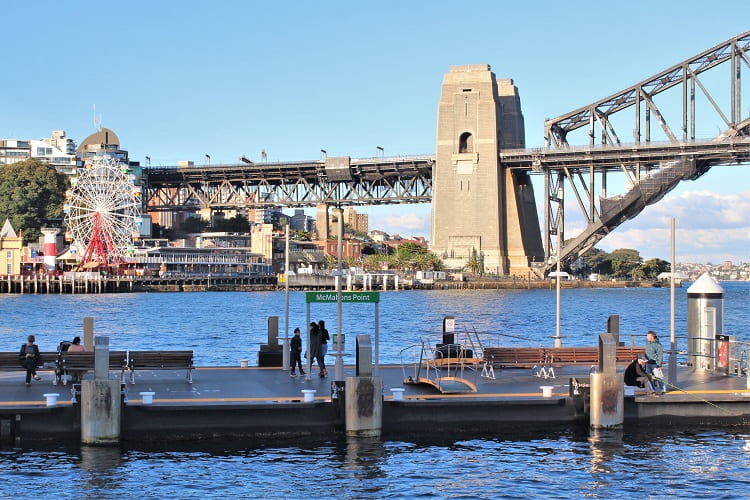 View of Sydney Harbour Bridge and Luna Park from McMahons Point wharf in Sydney.