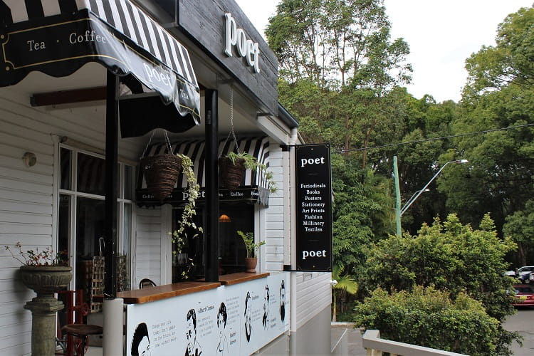 Poet Café in Bangalow - an ideal day trip from Byron Bay.