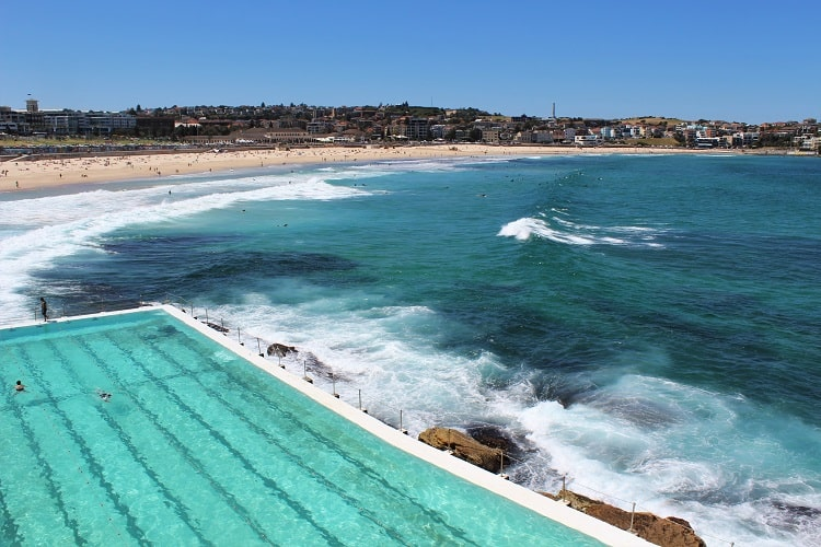View of Bondi Beach from the pool at Bondi Icebergs: the start of the Bondi to Coogee walk.