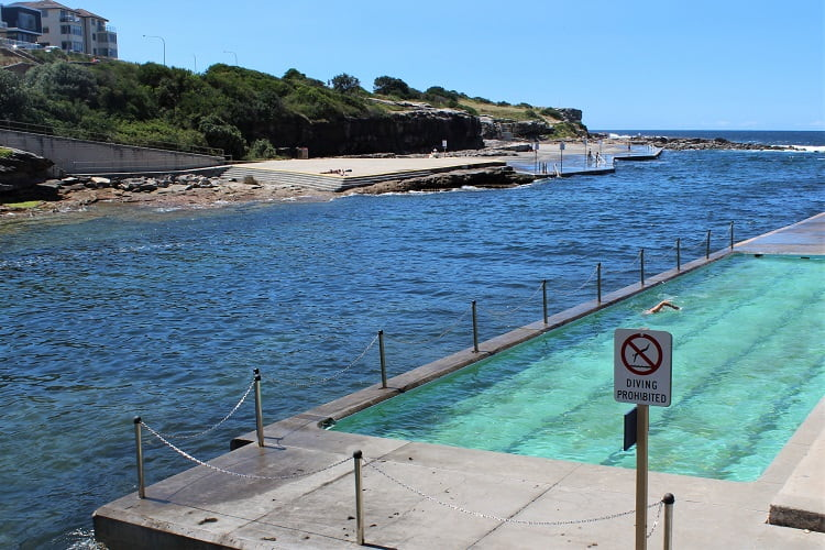 Swimming pool at Clovelly Beach on the Coogee to Bondi walk in Sydney.
