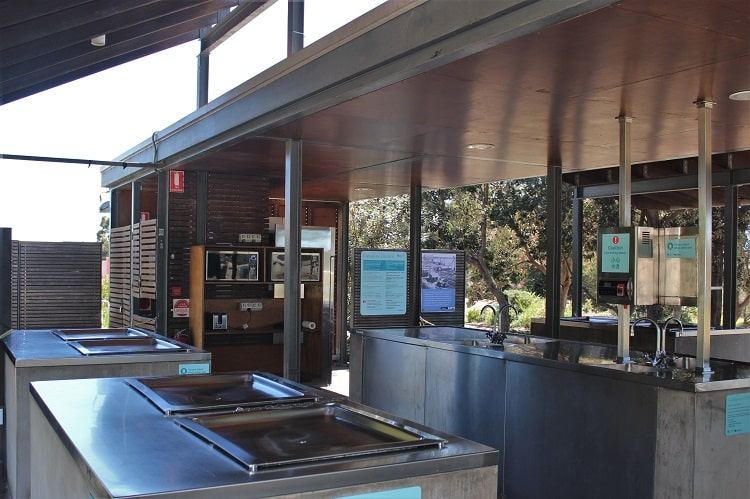 Camping kitchen facilities at Cockatoo Island, Sydney Australia.