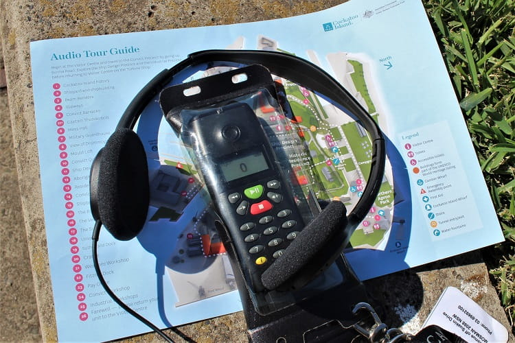 Headset and map for the Cockatoo Island audio tour.