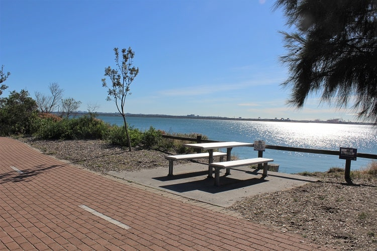 A picnic table overlooking the ocean at Monterey in Botany Bay, Sydney.