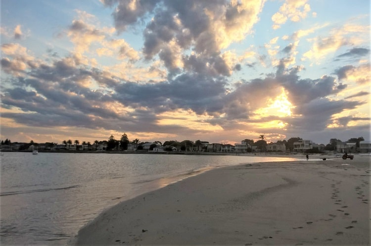 Beautiful sunset at the beach in Sandringham, Sydney, Australia.