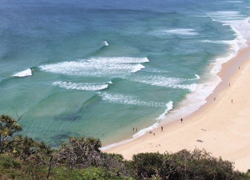 Looking down on Sunshine Beach, Noosa on the coastal walk through Noosa National Park, Queensland, Australia.