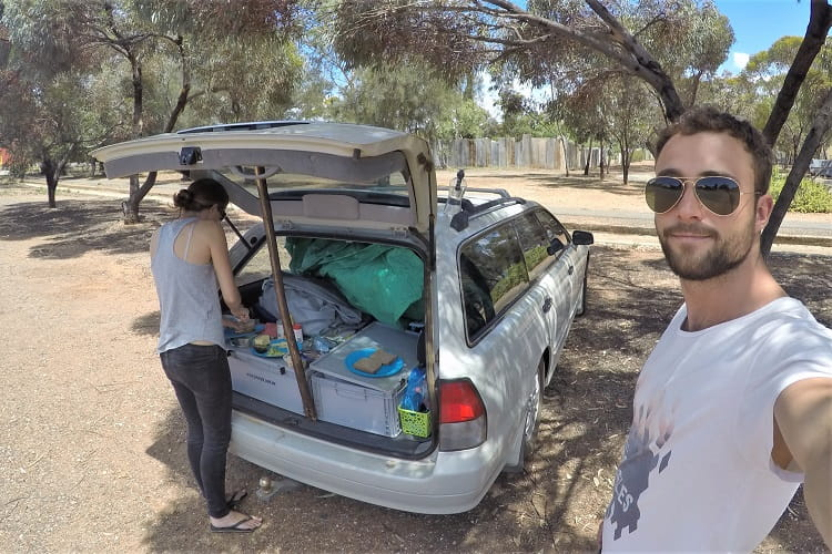 Two European backpackers on a road trip after house sitting in Adelaide, Australia.