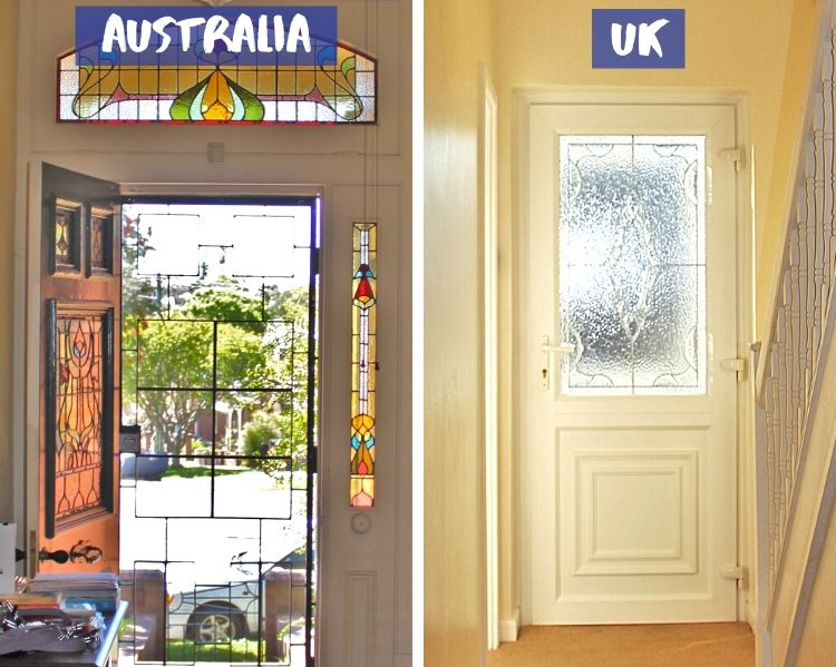 Front door and screen door in an Australian home vs UK.