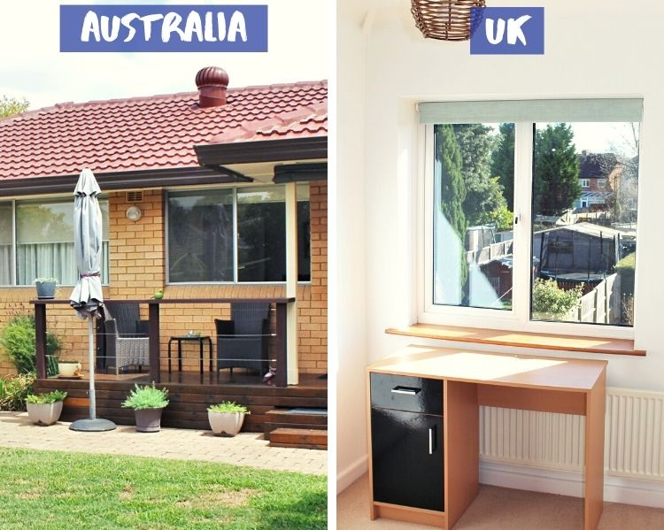 Windows on a house in Australia compared to double-glazed windows in the UK.