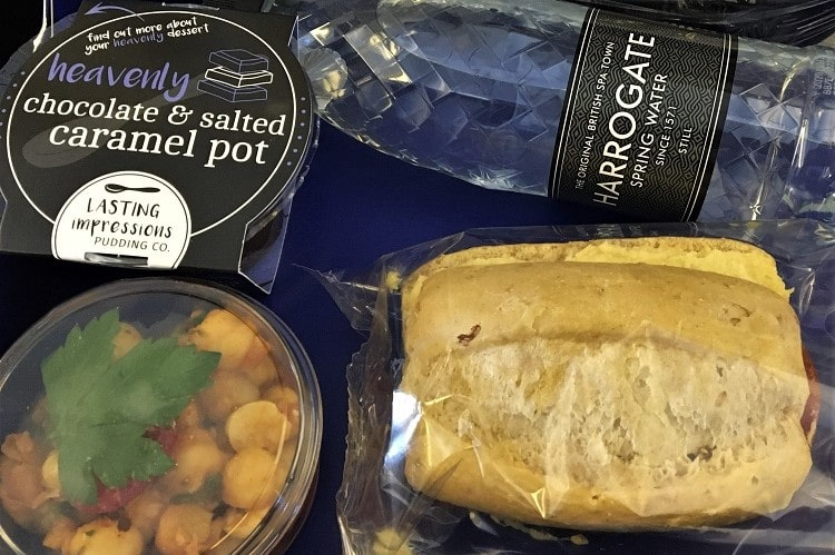 Inflight meal on a British Airways flight during the pandemic: all pre-packaged to avoid crew touching the food.