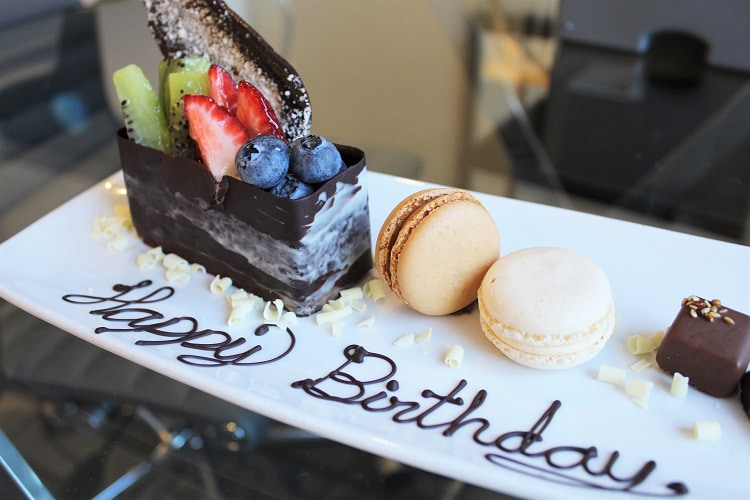 A birthday cake platter from Sydney Marriott hotel.