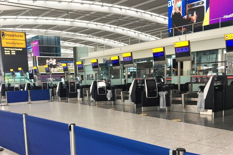 Empty check-in desks at Heathrow Airport in 2020 during the pandemic.