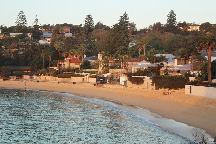 Camp Cove Beach in Watsons Bay at sunset, one of the most popular of the many Eastern Suburbs beaches in Sydney.