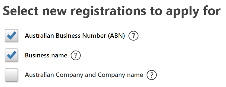 Screenshot of ABN registration in Australia.