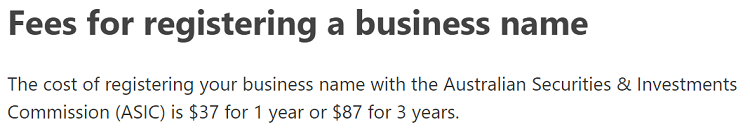 Business name registration cost in Australia (ASIC).