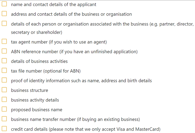 Screenshot of information needed to register a business in Australia. ABR.