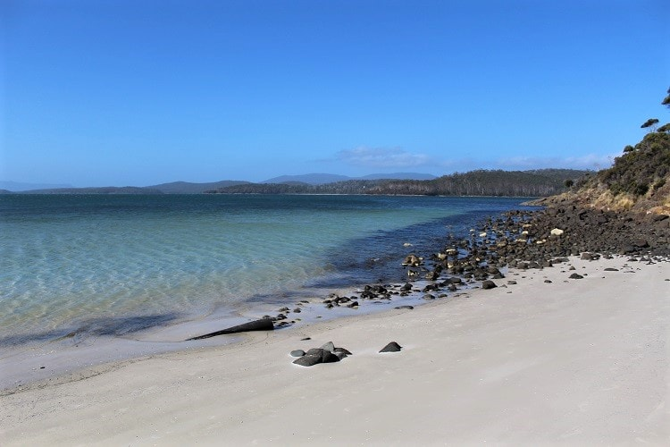 Gorgeous clear water at Jetty Beach on Bruny Island, Tasmania.