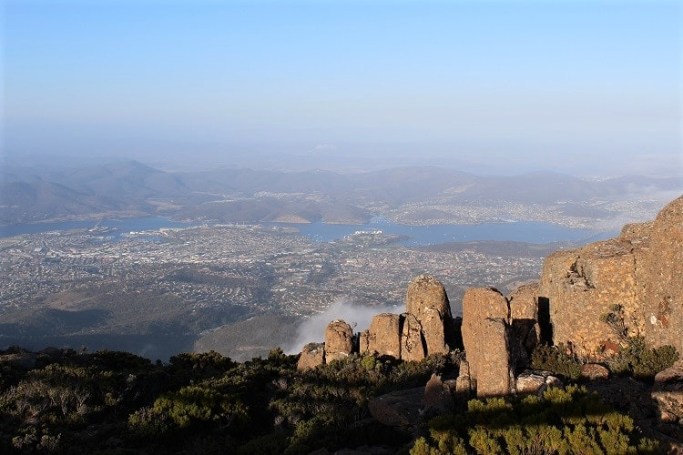 View from the top of Mount Wellington, one of the best things to do in Hobart, Tasmania.